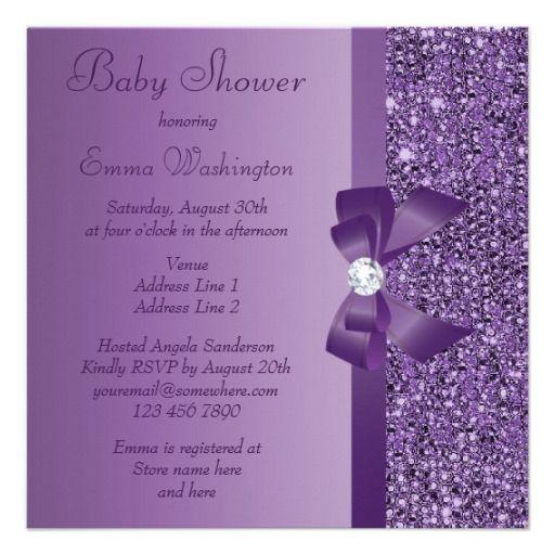 Purple Printed Sequins Bow & Diamond Baby Shower Invite
