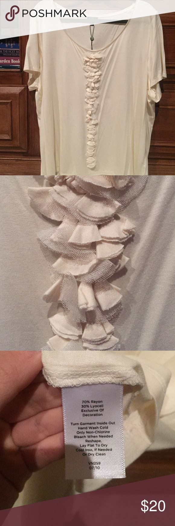 NWT Talbots Cream Short Sleeve Top NWT. Also have it in a nice purple color in another listing! Talbots Tops