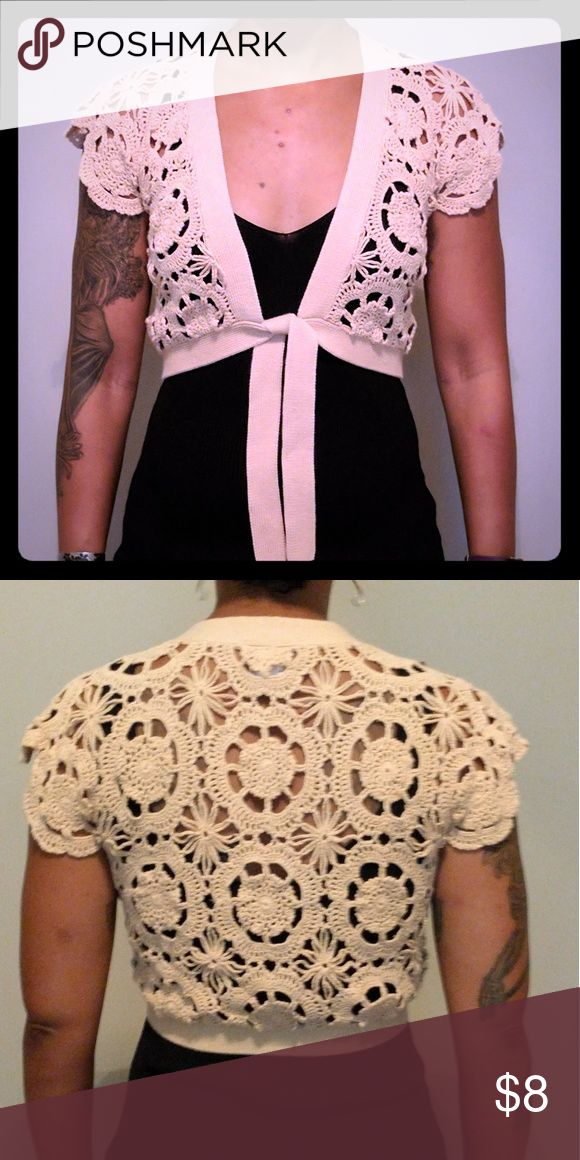 Old Navy crocheted top This beautiful crocheted over top can be paired with so many tops or dresses. It's 100% cotton. Old Navy Tops Crop Tops