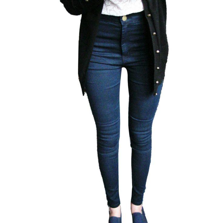 Высокая талия джинсы для женщин джинсы 2016 черного карандаш женские роковой синие узкие джинсы женщин джинсовые брюки брюки купить на AliExpress