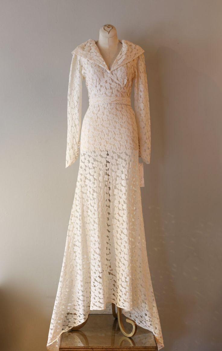 Vintage 1930s wedding dress vintage 30s ivory lace bias for Vintage ivory wedding dresses