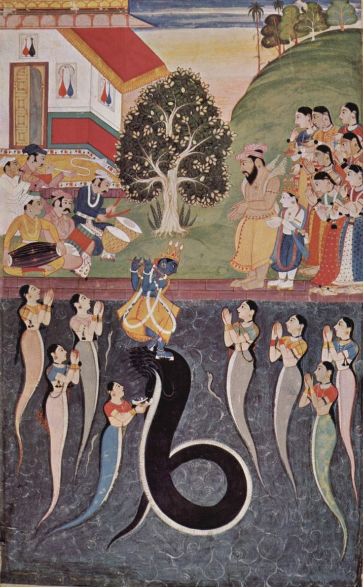 Bhagavata Purana manuscript, c. 1640 Bundi School - Krishna dances over the Kaliya Naag in river Yamuna, while Kaliya's wives are praying to Krishna for his mercy. On the banks are people of Gokula, Krishna's father Nanda and his brother Balarama - Old Indian Arts