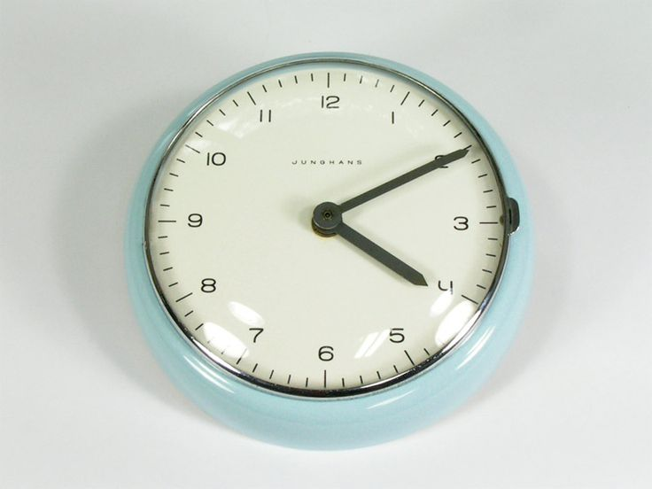 Max Bill Junghans Porcelain Wall Clock : 20th Century Vintage Industrial : Modern Fifty