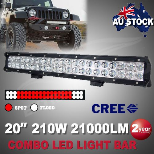 20 Inch 210W CREE LED Light Bar Spot Flood Combo Work Driving Off Road 4WD