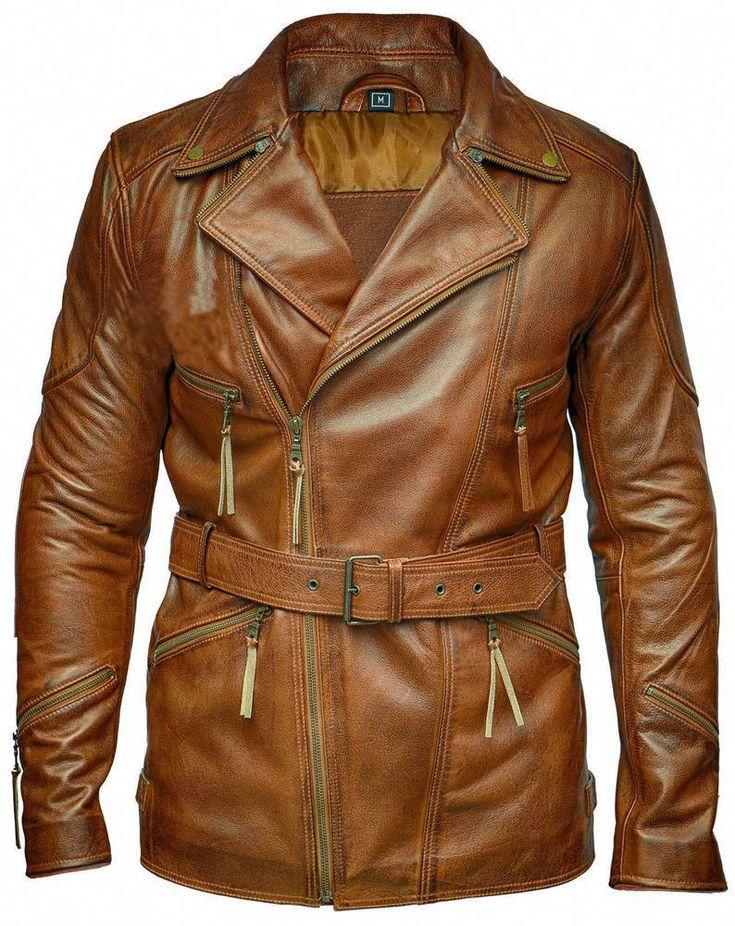 leather long coat brown jacket for men cafe racer top