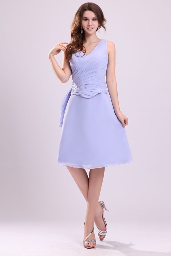 V-neck Pleated A-line Short Bridesmaid Dresses