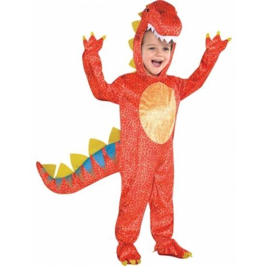 Rood dinosaurus kostuum voor kids. Dino onesie kostuum voor kinderen inclusief dino hoofd. Materiaal: 100% polyester.