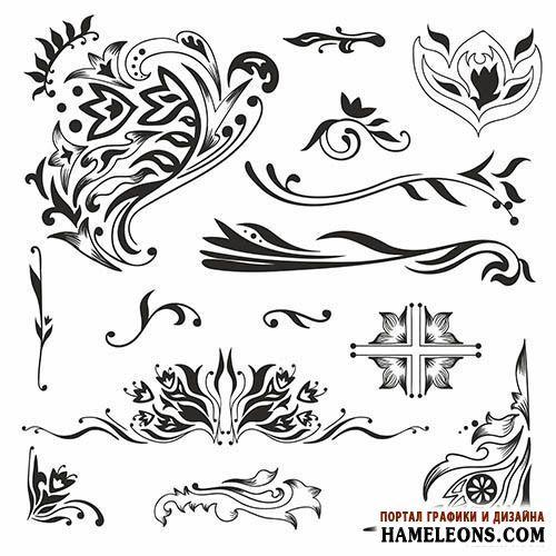 Винтажные черно-белые элементы декора в векторе: цветочные узоры, орнаменты, рамки, уголки   Calligraphic floral elements