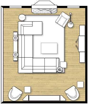 Sectional layout. Not sure about the need for the 2 random chairs on the wall... but yes.