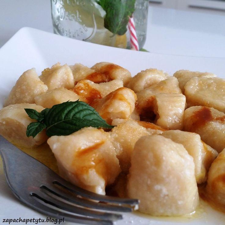 Banana cottage cheese dumplings with salted caramel #zapachapetytu #banana #dumplings #saltedcaramel