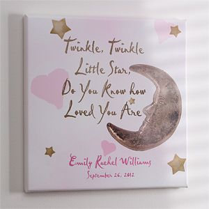 "LOVE this cute piece of art for the baby's nursery! It's the ""Twinkle Twinkle"" Personalized Canvas Art from PersonalizationMall! They personalize it for free and it's only $32.95! It comes in pink or blue and you can add the baby's name and birthdate! Great Christmas Gift idea for new parents or a new baby! #Christmas #Baby"