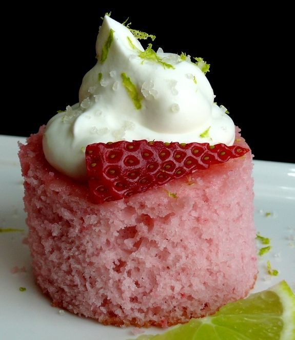 Strawberry Margarita Cake Bites .  USes box cake mix and daiquiri mix.  Couldn't be easier! Perfect for Valentine's Day.
