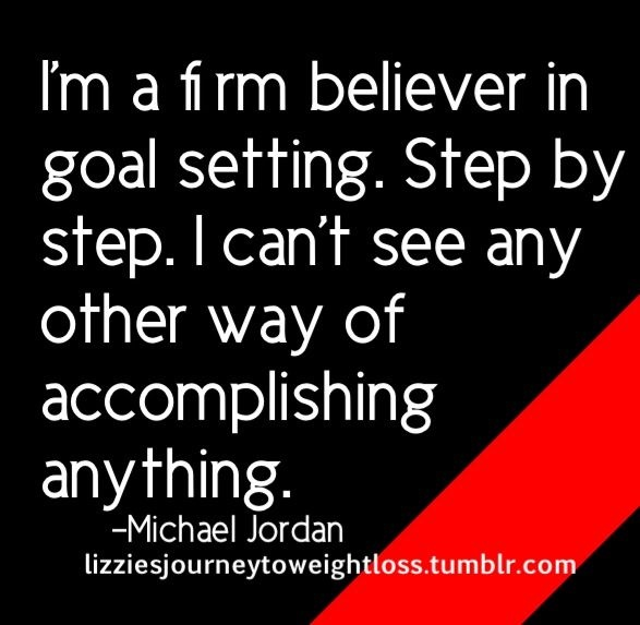 Could not have put it better!To take one broad step to a knew you whether it be mentally,physically,educationally,career wise or character wise,you have to take little steps to get where you want to be.Goals are just dreams with deadlines!You WILL get there!All in time!Set.Those.Goals!