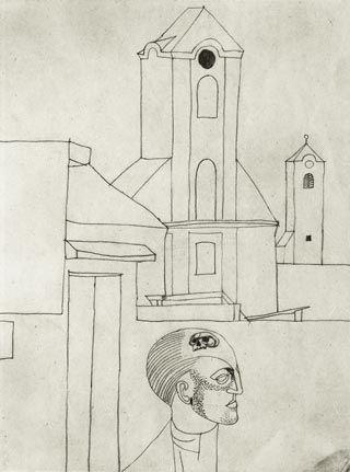 Vajda Lajos, Önarckép templommal, 1935 (?)
