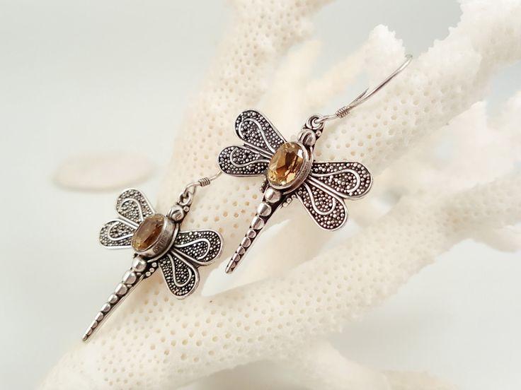 Dragonfly Earrings, Citrine Earring, Citrine Drops, Sterling Earring, Organic Earrings, Vintage Earrings, Dragonfly Jewelry, Gift For Her by AtehModus on Etsy