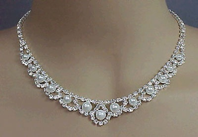 """White Pearls and Clear Crystal  Set. 16""""-18""""Crystals Sets, Pearls Bridal, Bridesmaid Necklaces, Clear Crystals, Bridal Necklaces, Victorian, Jewelry Ideas, Bridal Jewelry Sets, Brides Necklaces"""