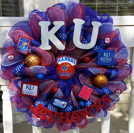 Hey, I found this really awesome Etsy listing at https://www.etsy.com/listing/230884839/ku-jayhawks-wreath-will-custom-and