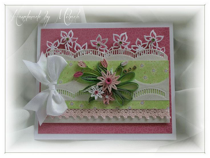 Card with quilling flowers, leaves and Marianne Design die and papers