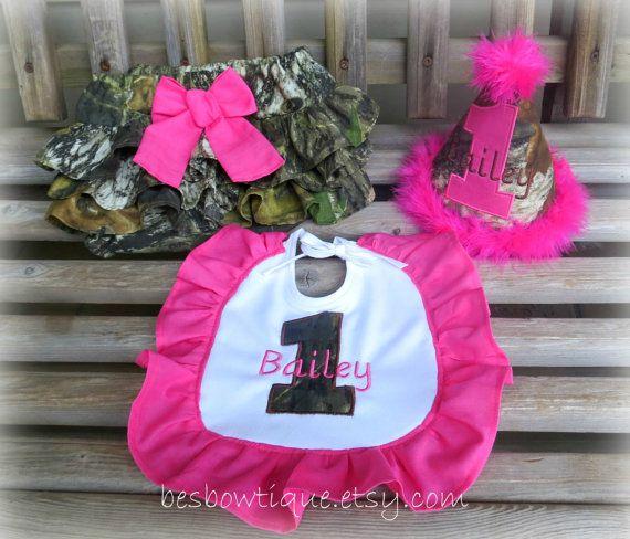 Pink Mossy Oak Camo Girl's 1st Birthday Cake Smash Set on Etsy, $50.00