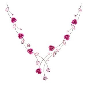 Perfect Gift - High Quality Elegant Rose Necklace with Pink Swarovski Crystals and Crystal Glass (963) for #Valentine day Gift Free Standard Shipment Clearance