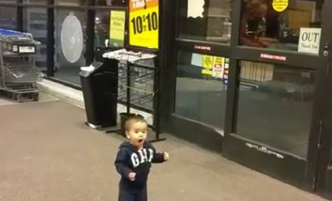 Toddler Reacts With Amazement at Automatic Doors