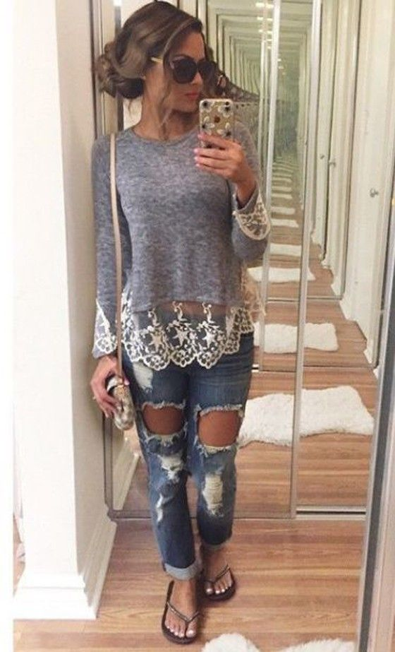 Dark Blue Patchwork Lace Round Neck Long Sleeve Fall Casual Fashion T-Shirt - T-Shirts - Tops