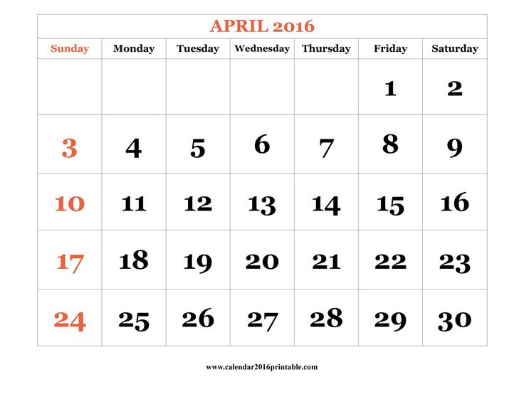 April 2016 Calendar PDF, free to download and print.