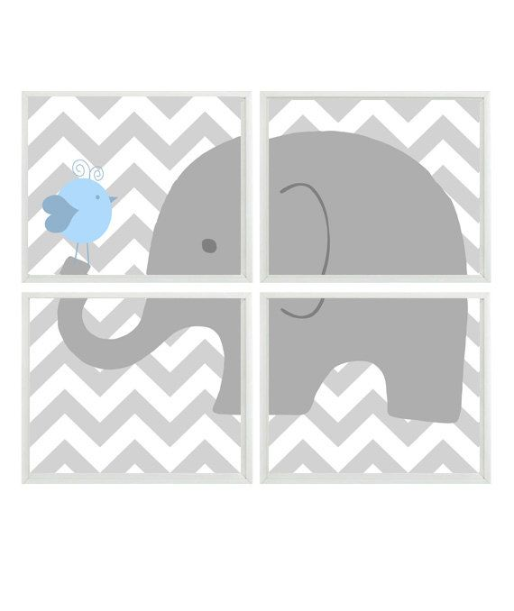 Elephant Nursery Art Chevron Bird - Gray Light Blue - Print Set Of 4 8x10  - Baby Boy Children Kid room - Wall Art Home Decor