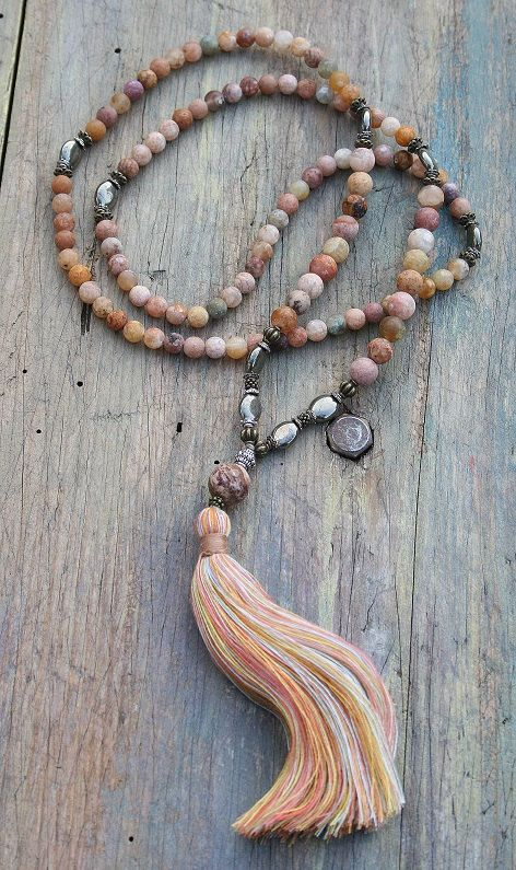 Mala necklace made of 6 and 8 mm - 0.236 and 0.315 inch, beautiful frosted agate gemstones. Together they count as 108 beads. The mala is