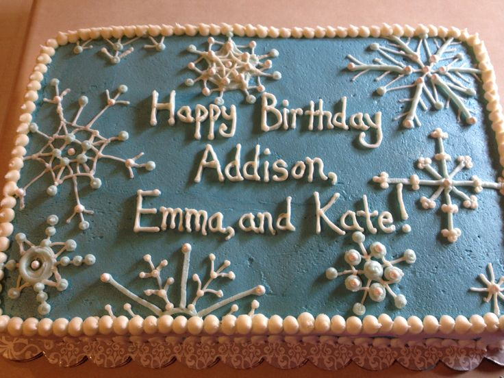 Snowflake Sheet Cake for Frozen Birthday