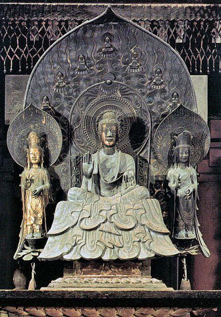 釈迦三尊像 法隆寺金堂 銅造 | 法隆寺の仏像の意味 : 四季歩の ...