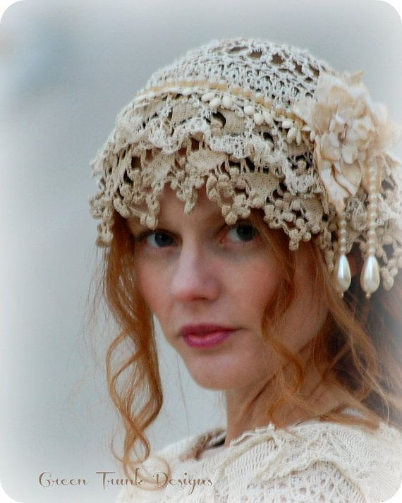 1920s Style Flapper Wedding Cap by GreenTrunkDesigns on Etsy