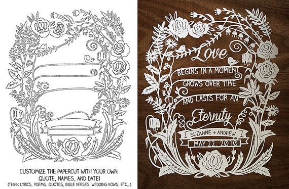 Customize your own handcut papercut illustration with your own words, quote, wedding vows, bible verse, song lyrics, and more! Perfect for weddings, anniversaries, or to welcome a new baby to the family. By SarahTrumbauer on Etsy.
