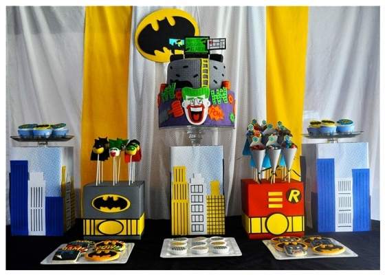 batman cake and dessert table