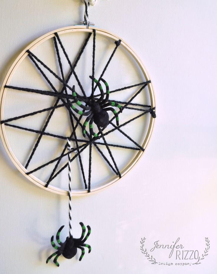 easy diy spider web halloween decor door and wall hanging