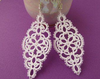Pendientes de encaje blanco boda Bohemia novia aretes de perlas soy pendientes de boda joyería pendientes