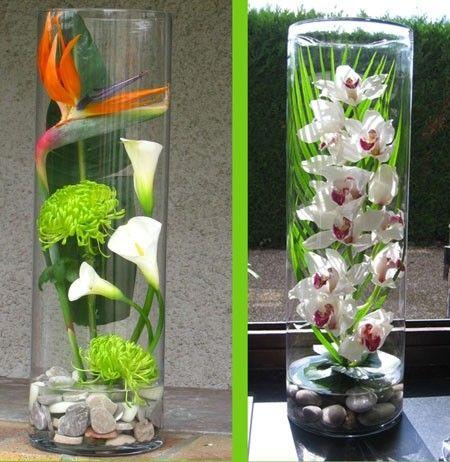 Les 25 meilleures id es concernant vase cylindrique sur pinterest centres d - Idee composition florale ...