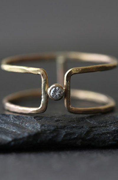 Diamond Column Ring