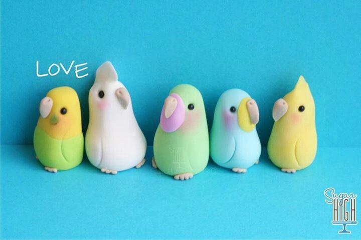 Birds, Polymer Clay, masa flexible, cold porcelain, masa francesa, porcelana fria