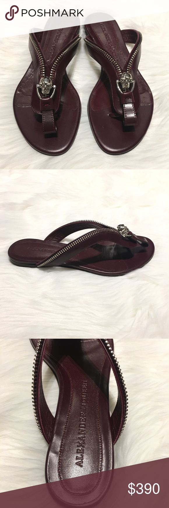 Alexander McQueen Skull Flip Flops 38 1/2 (7.5 -8) Alexander McQueen Flip Flops Size: 38 1/2  but fit like a 7.5 or 8 - Color: Maroon - purchases these from Nordstrom sale they have minor scuffs on the soles from being on the rack (see photos) I do not have the box. Skull with Zipper design. Alexander McQueen Shoes Sandals