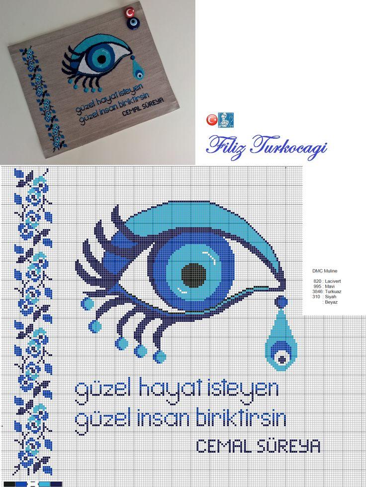 Çok severek işledim, yorumsuz...Herkes kendisi yorumlasın diye :) Designed and stitched by Filiz Türkocağı...( Tukish evil eye )