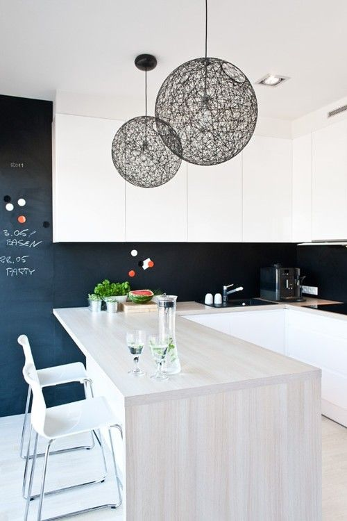 monochrome cooking: White Houses, Lights Fixtures, Lamps Shades, Chalkboards Paintings, Interiors Design, Black White, Chalkboards Wall, Black Wall, White Kitchens