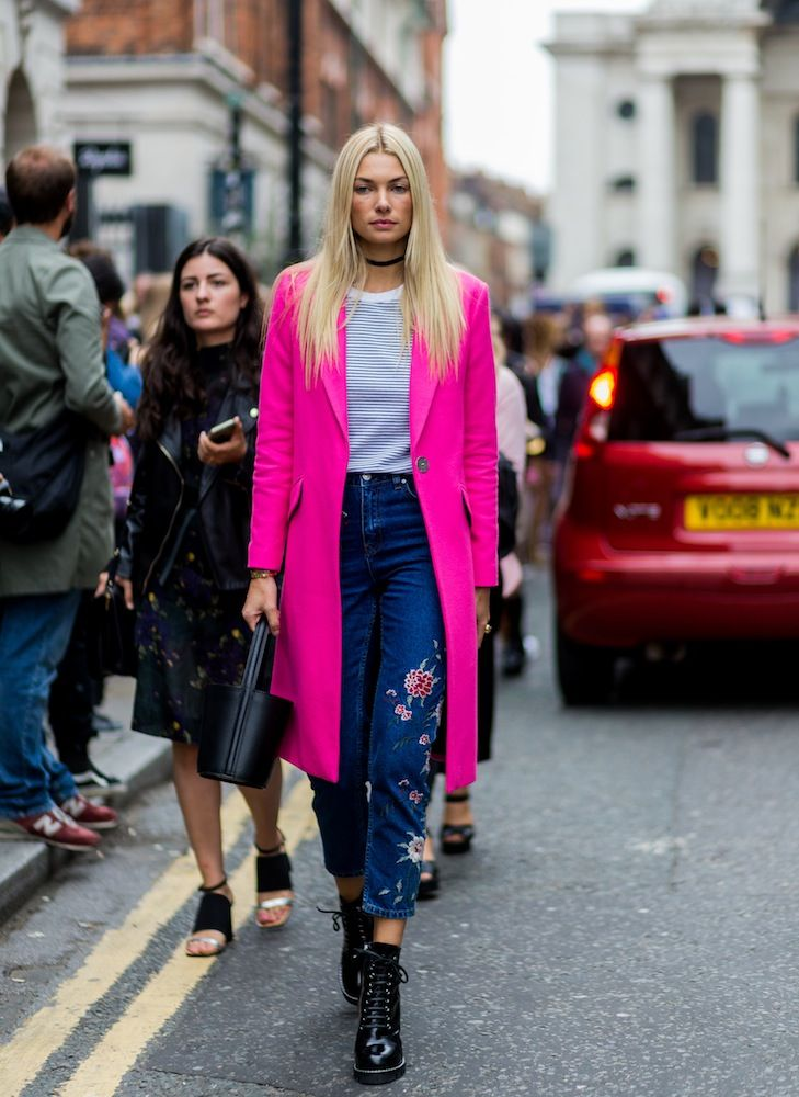 London Fashion Week SS17 Street Style: Day 3 - embroidered jeans and fuchsia pink