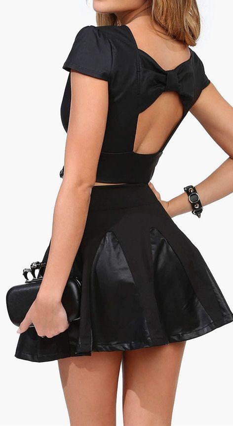 Bow Back Top & Leather Panel Skirt ♥ L.O.V.E.
