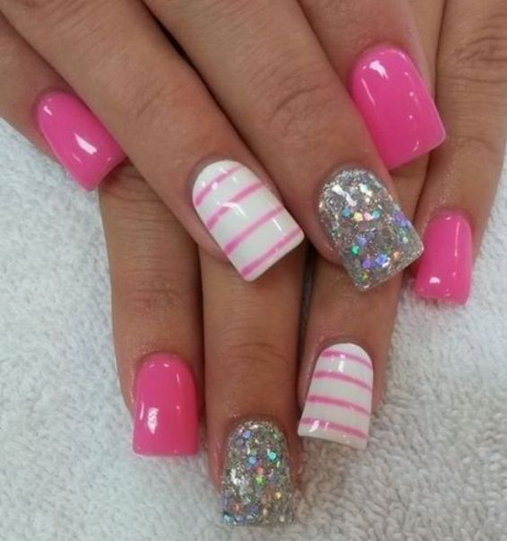Pink and white stripped w/ silver glitter
