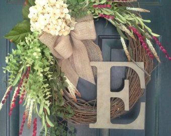 Red and cream hydrangea wreath with double by AutumnWrenDesigns