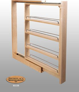 Our Base Slim Pull-out Rack is available in two widths with one fixed shelf and three adjustable shelves each with chrome side rails.Learn more about our