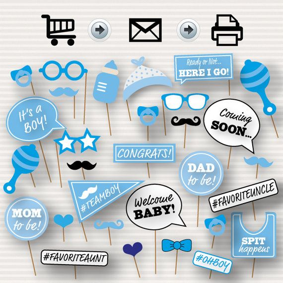 Baby Shower Printable Photo Booth Props - Baby Shower Photobooth Props - Blue…