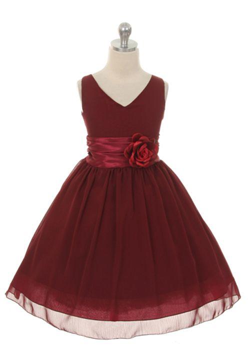 Burgundy Chiffon Flower Girl Dress