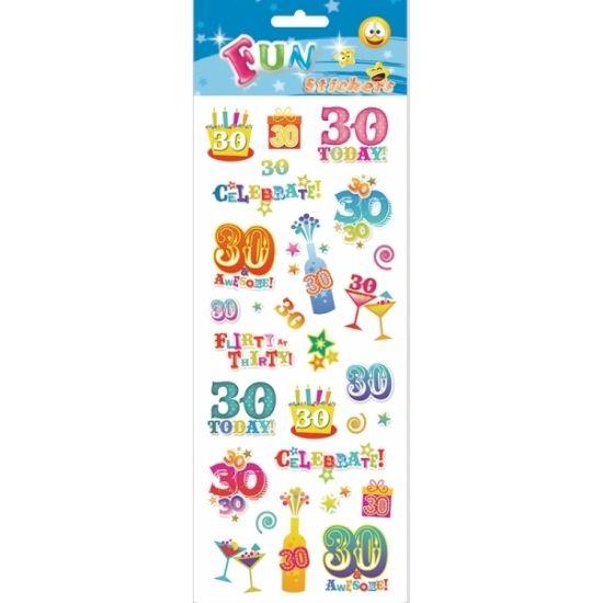 Stickervel 30 jaar. Een stickervel vol met leuke stickers voor de 30-jarige. Het vel bestaat uit ongeveer 25 stickertjes.
